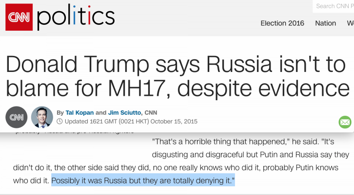 <figcaption>CNN, shilling for the Hillary campaign, tried to make political hay over Trump's statements</figcaption>