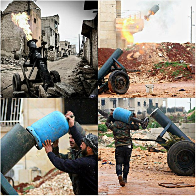 Al Nusra's home-made gas canister cannons